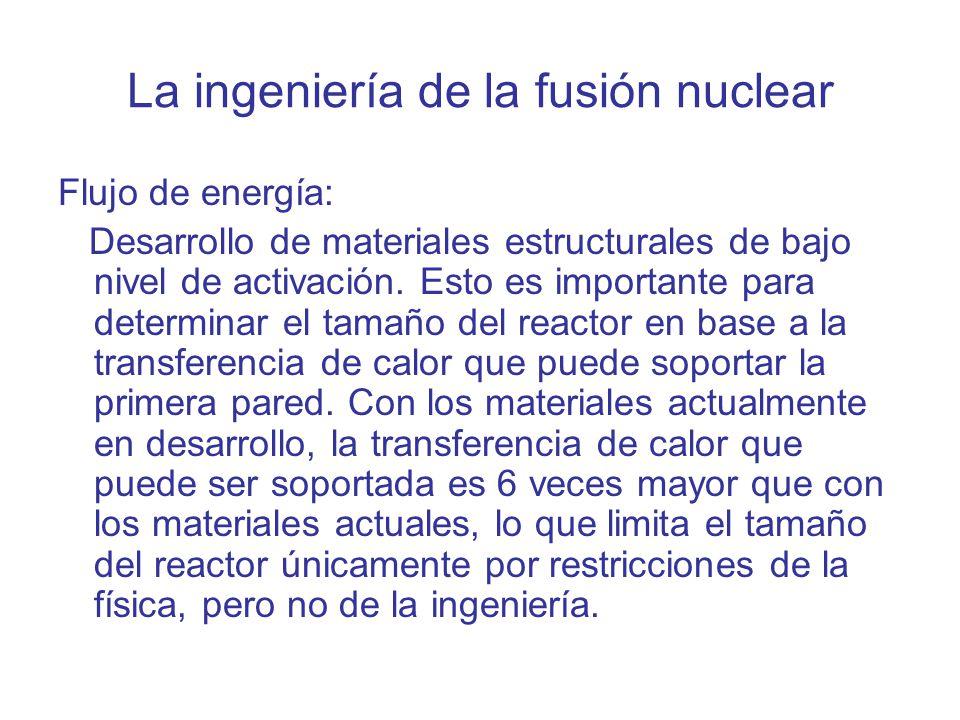 La ingeniería de la fusión nuclear Flujo de energía: Desarrollo de materiales estructurales de bajo nivel de activación. Esto es importante para deter