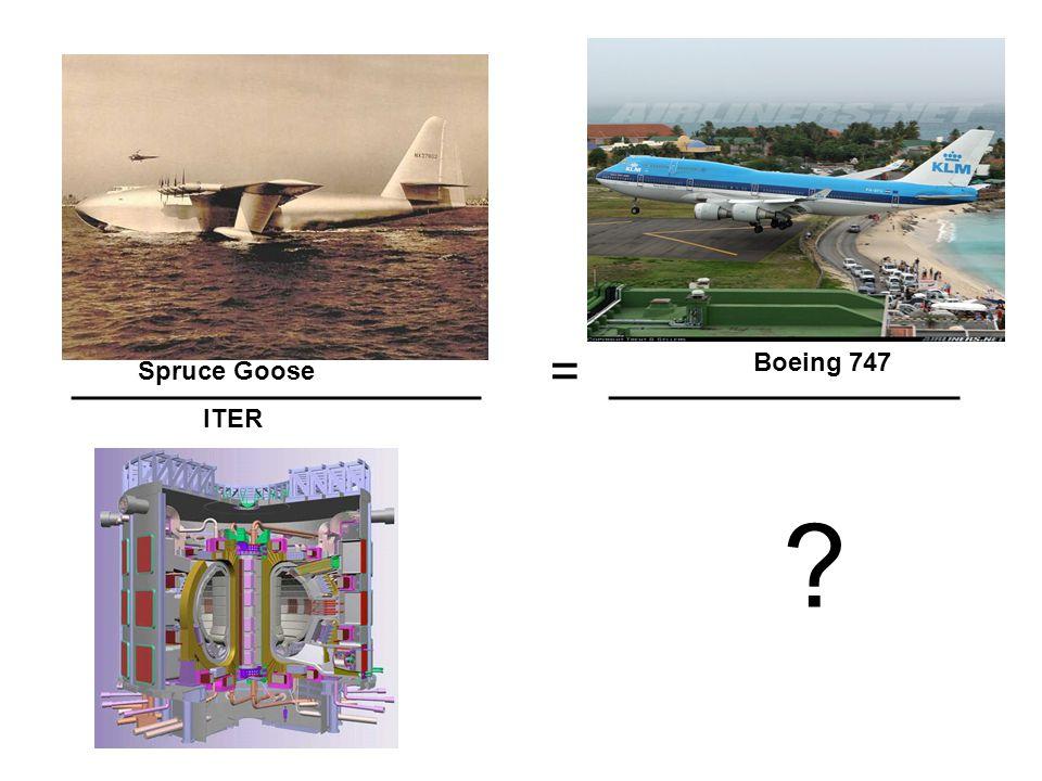 ______________ = ____________ ? Spruce Goose ITER Boeing 747