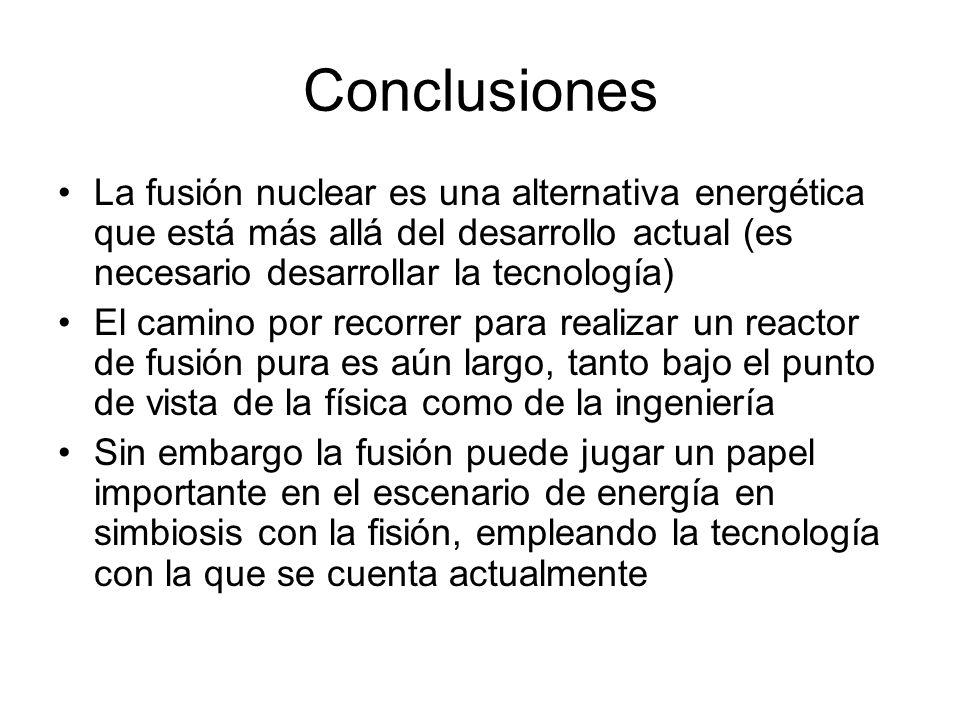 Conclusiones La fusión nuclear es una alternativa energética que está más allá del desarrollo actual (es necesario desarrollar la tecnología) El camin