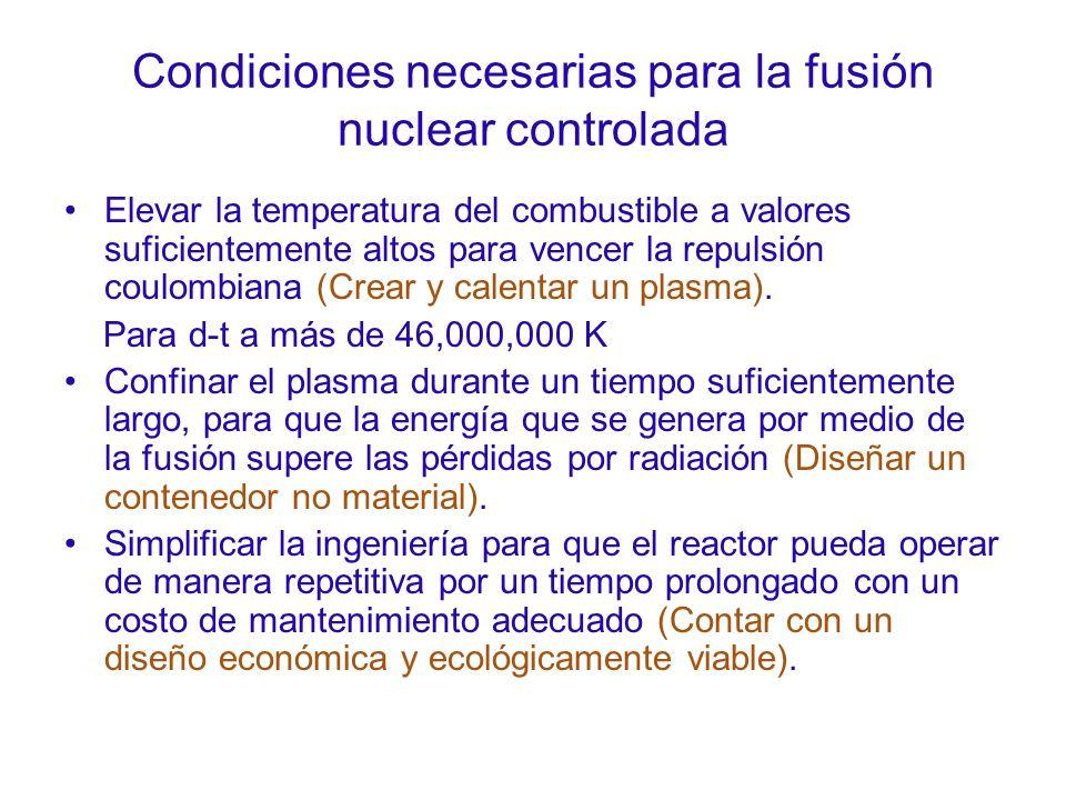 Condiciones necesarias para la fusión nuclear controlada Elevar la temperatura del combustible a valores suficientemente altos para vencer la repulsión coulombiana (Crear y calentar un plasma).