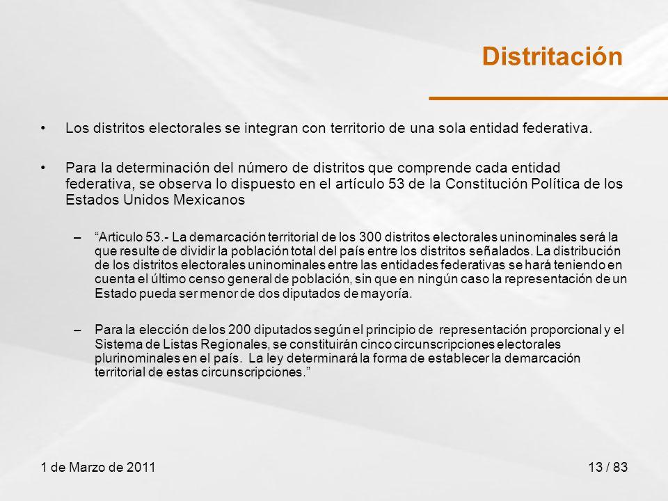1 de Marzo de 201113 / 83 Distritación Los distritos electorales se integran con territorio de una sola entidad federativa.
