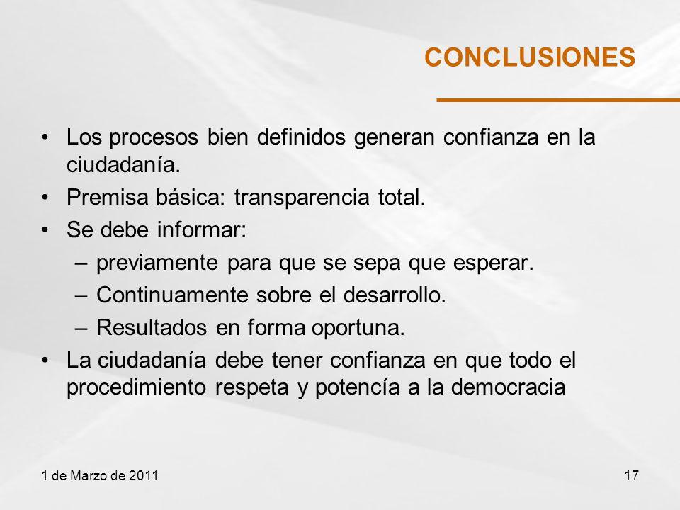 CONCLUSIONES Los procesos bien definidos generan confianza en la ciudadanía.
