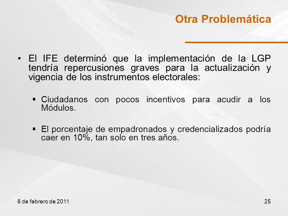 El IFE determinó que la implementación de la LGP tendría repercusiones graves para la actualización y vigencia de los instrumentos electorales: Ciudadanos con pocos incentivos para acudir a los Módulos.