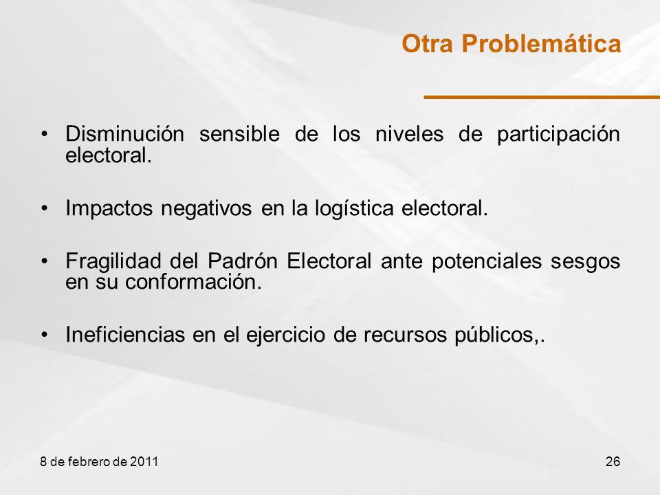 Disminución sensible de los niveles de participación electoral.