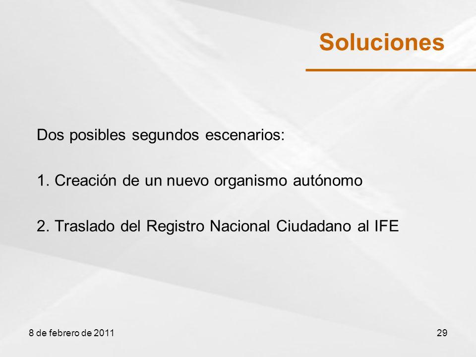 Soluciones Dos posibles segundos escenarios: 1.Creación de un nuevo organismo autónomo 2.Traslado del Registro Nacional Ciudadano al IFE 8 de febrero de 201129