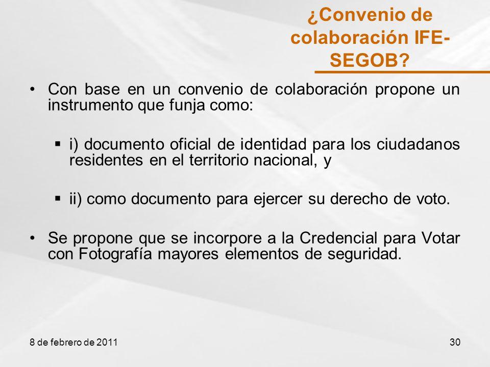 Con base en un convenio de colaboración propone un instrumento que funja como: i) documento oficial de identidad para los ciudadanos residentes en el territorio nacional, y ii) como documento para ejercer su derecho de voto.