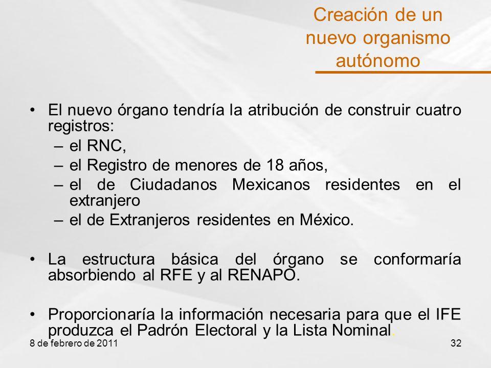 El nuevo órgano tendría la atribución de construir cuatro registros: –el RNC, –el Registro de menores de 18 años, –el de Ciudadanos Mexicanos residentes en el extranjero –el de Extranjeros residentes en México.