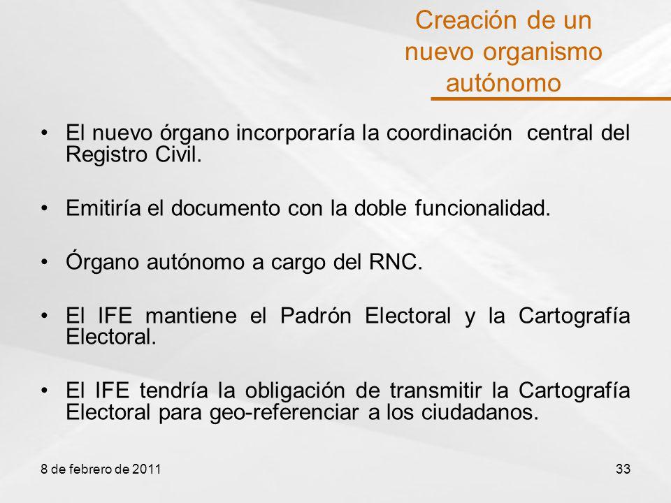 El nuevo órgano incorporaría la coordinación central del Registro Civil.