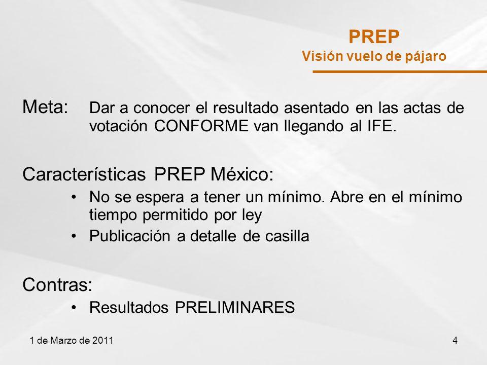 PREP Visión vuelo de pájaro Meta: Dar a conocer el resultado asentado en las actas de votación CONFORME van llegando al IFE.