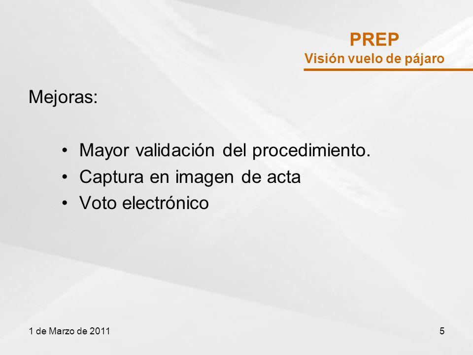 Padrón Electoral Posibles Mejoras Mayor certeza en el registro Mejora de actualización 03 y 09 Difuntos Pérdida de derechos políticos 1 de Marzo de 201116