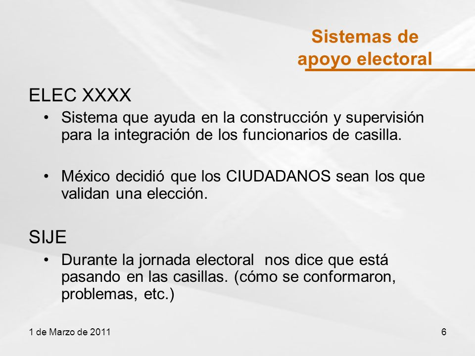 Sistemas de apoyo electoral ELEC XXXX Sistema que ayuda en la construcción y supervisión para la integración de los funcionarios de casilla.