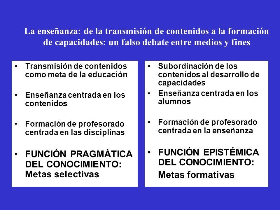 La enseñanza: de la transmisión de contenidos a la formación de capacidades: un falso debate entre medios y fines Transmisión de contenidos como meta de la educación Enseñanza centrada en los contenidos Formación de profesorado centrada en las disciplinas FUNCIÓN PRAGMÁTICA DEL CONOCIMIENTO: Metas selectivas Subordinación de los contenidos al desarrollo de capacidades Enseñanza centrada en los alumnos Formación de profesorado centrada en la enseñanza FUNCIÓN EPISTÉMICA DEL CONOCIMIENTO: Metas formativas