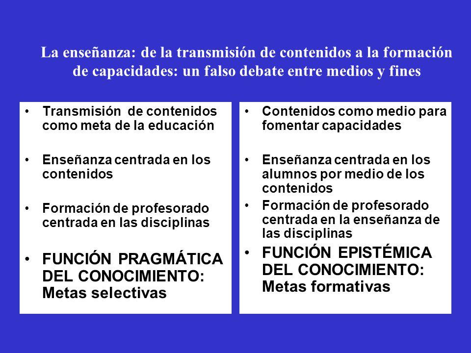 La enseñanza: de la transmisión de contenidos a la formación de capacidades: un falso debate entre medios y fines Transmisión de contenidos como meta de la educación Enseñanza centrada en los contenidos Formación de profesorado centrada en las disciplinas FUNCIÓN PRAGMÁTICA DEL CONOCIMIENTO: Metas selectivas Subordnación de los contenidos a favor de las capacidades Enseñanza centrada en los alumnos Formación de profesorado centrada en la enseñanza FUNCIÓN EPISTÉMICA DEL CONOCIMIENTO: Metas formativas Contenidos como medio para fomentar capacidades Enseñanza centrada en los alumnos por medio de los contenidos Formación de profesorado centrada en la enseñanza de las disciplinas FUNCIÓN EPISTÉMICA DEL CONOCIMIENTO: Metas formativas
