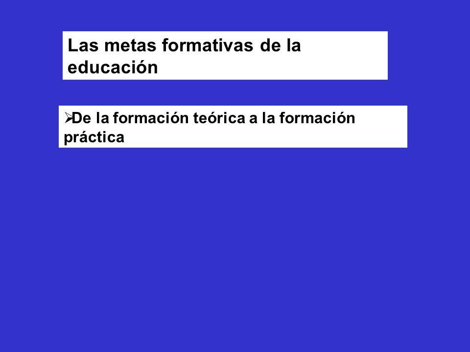 Las metas formativas de la educación De la formación teórica a la formación práctica