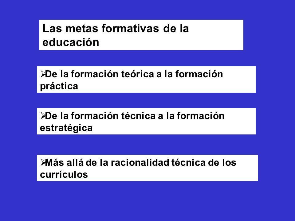 Las metas formativas de la educación De la formación teórica a la formación práctica De la formación técnica a la formación estratégica Más allá de la racionalidad técnica de los currículos