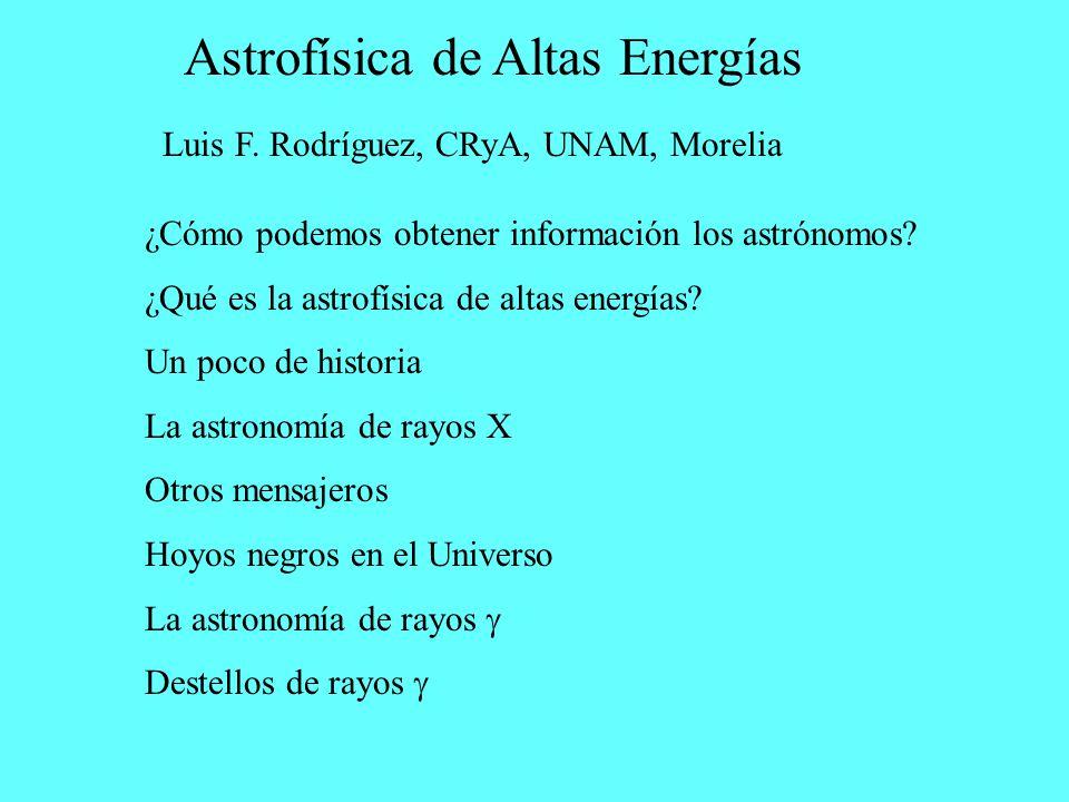 Astrofísica de Altas Energías Luis F. Rodríguez, CRyA, UNAM, Morelia ¿Cómo podemos obtener información los astrónomos? ¿Qué es la astrofísica de altas
