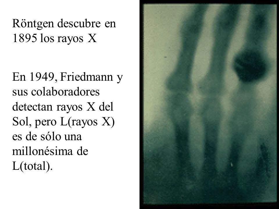 Röntgen descubre en 1895 los rayos X En 1949, Friedmann y sus colaboradores detectan rayos X del Sol, pero L(rayos X) es de sólo una millonésima de L(total).