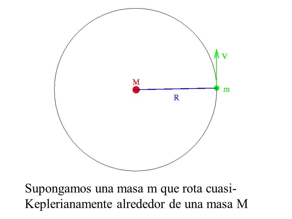 Supongamos una masa m que rota cuasi- Keplerianamente alrededor de una masa M