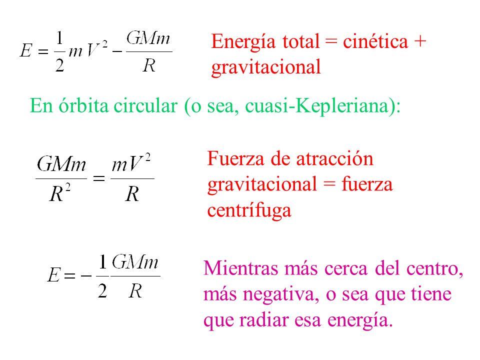Energía total = cinética + gravitacional En órbita circular (o sea, cuasi-Kepleriana): Fuerza de atracción gravitacional = fuerza centrífuga Mientras más cerca del centro, más negativa, o sea que tiene que radiar esa energía.