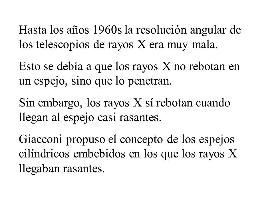 Hasta los años 1960s la resolución angular de los telescopios de rayos X era muy mala. Esto se debía a que los rayos X no rebotan en un espejo, sino q