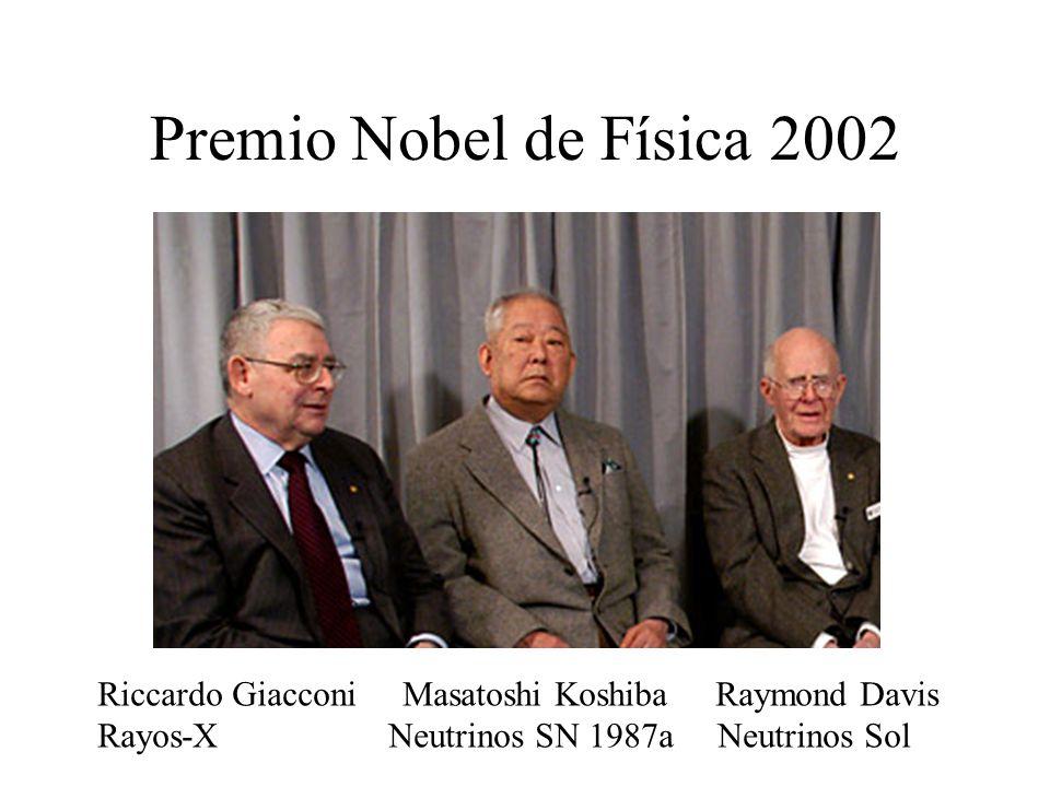 Premio Nobel de Física 2002 Riccardo Giacconi Masatoshi Koshiba Raymond Davis Rayos-X Neutrinos SN 1987a Neutrinos Sol