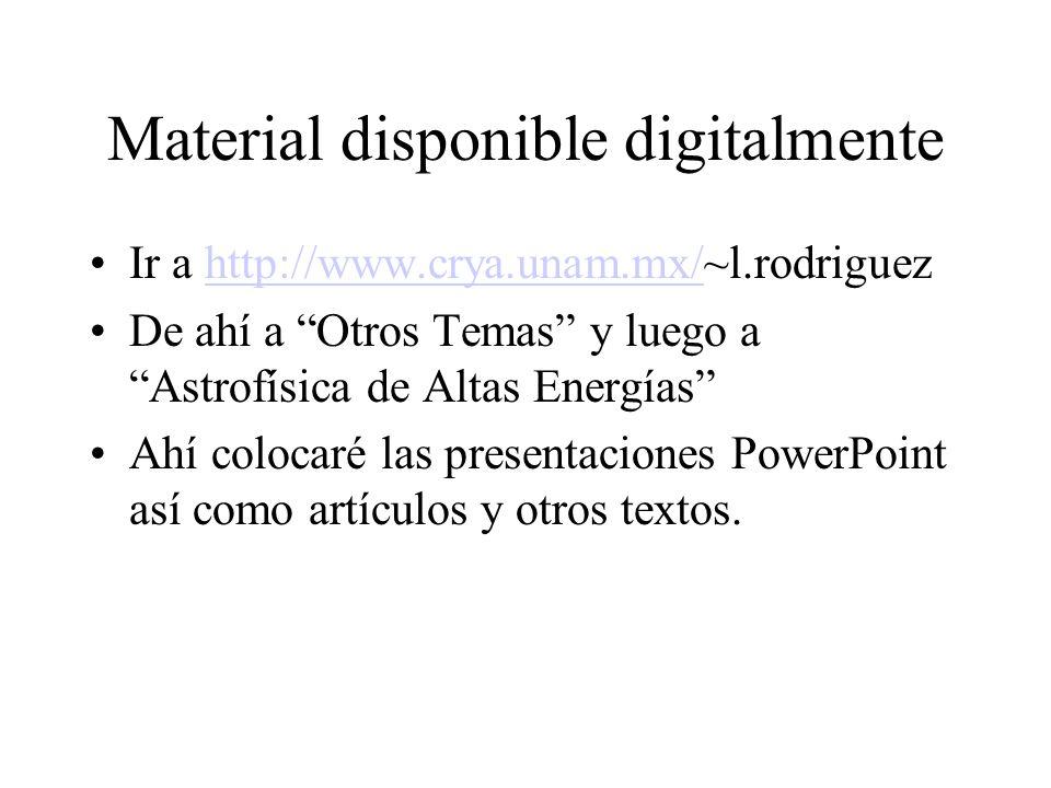 Material disponible digitalmente Ir a http://www.crya.unam.mx/~l.rodriguezhttp://www.crya.unam.mx/ De ahí a Otros Temas y luego a Astrofísica de Altas Energías Ahí colocaré las presentaciones PowerPoint así como artículos y otros textos.