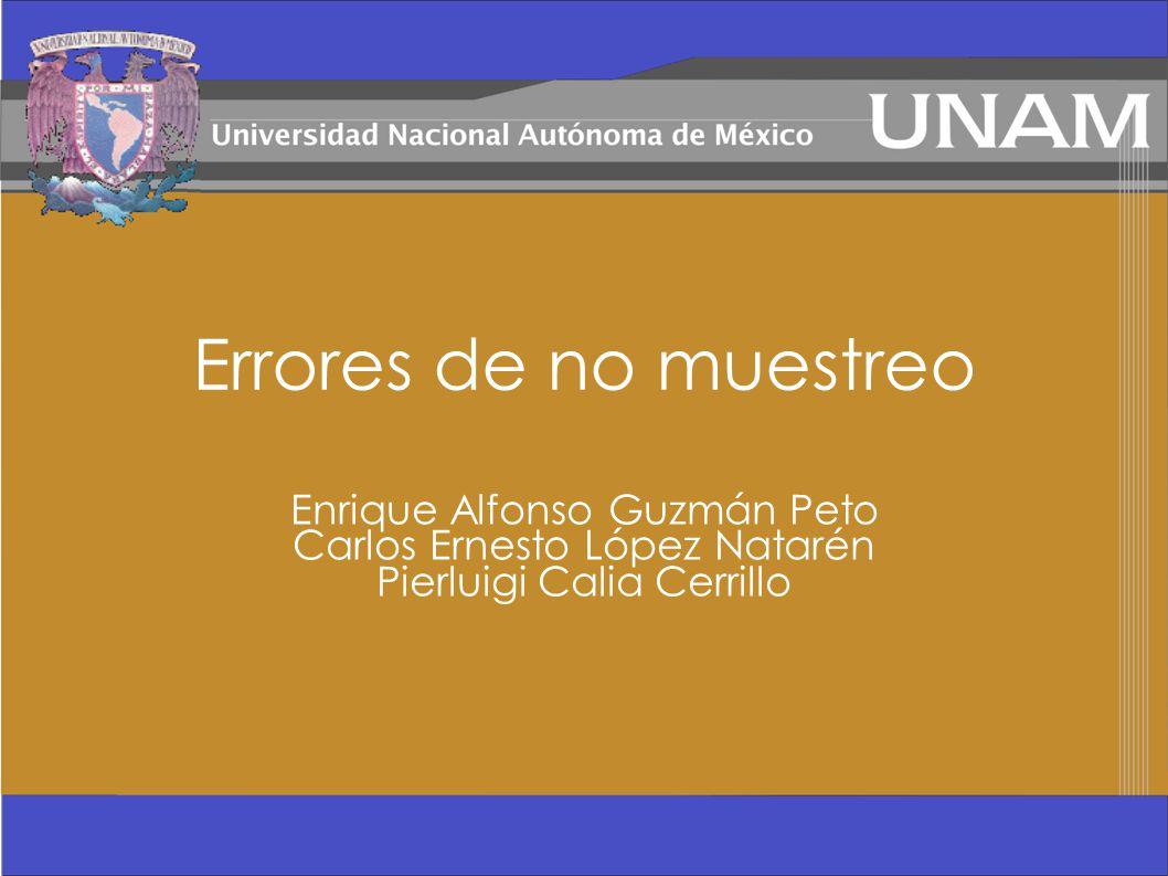 Errores de no muestreo Enrique Alfonso Guzmán Peto Carlos Ernesto López Natarén Pierluigi Calia Cerrillo