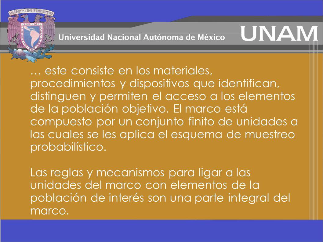 … este consiste en los materiales, procedimientos y dispositivos que identifican, distinguen y permiten el acceso a los elementos de la población obje