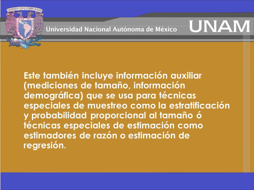Este también incluye información auxiliar (mediciones de tamaño, información demográfica) que se usa para técnicas especiales de muestreo como la estr