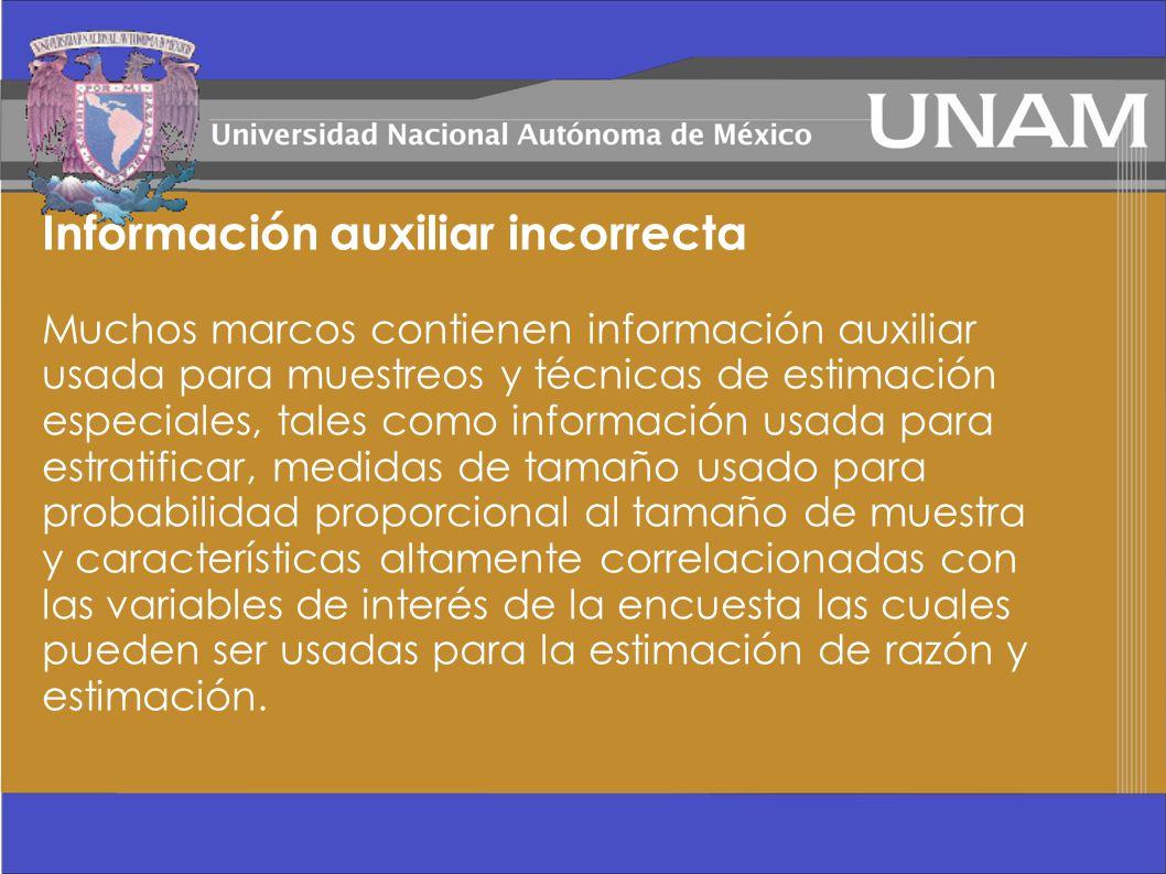 Información auxiliar incorrecta Muchos marcos contienen información auxiliar usada para muestreos y técnicas de estimación especiales, tales como info