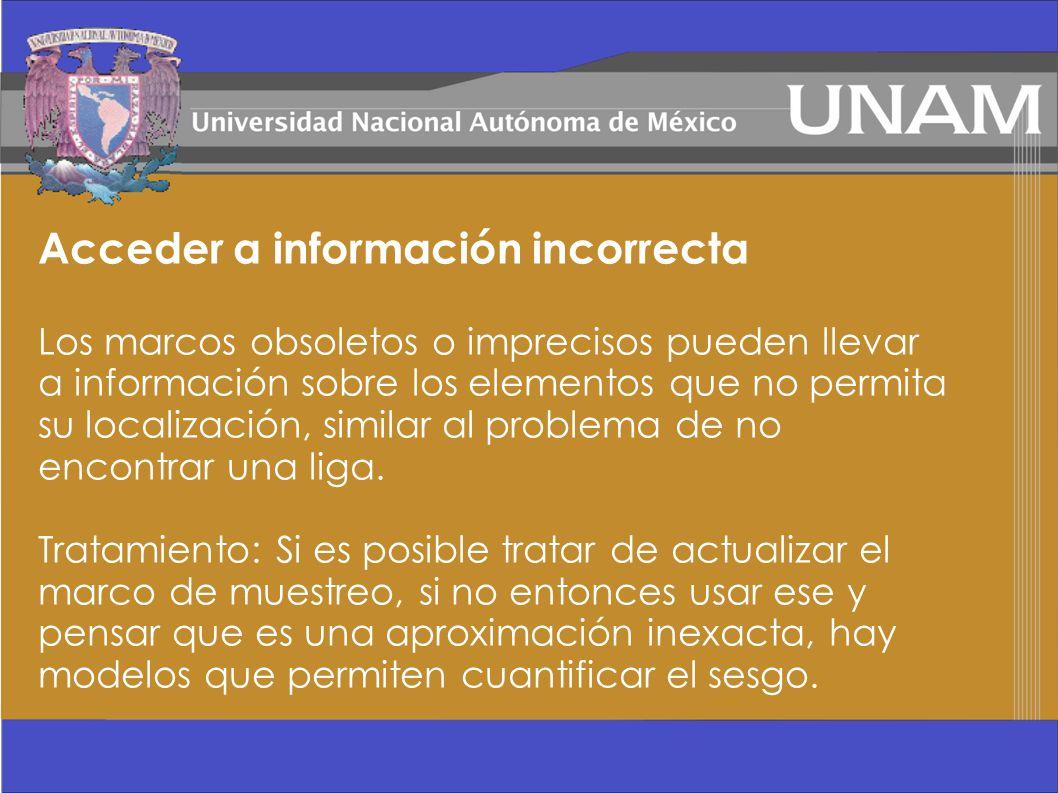 Acceder a información incorrecta Los marcos obsoletos o imprecisos pueden llevar a información sobre los elementos que no permita su localización, sim