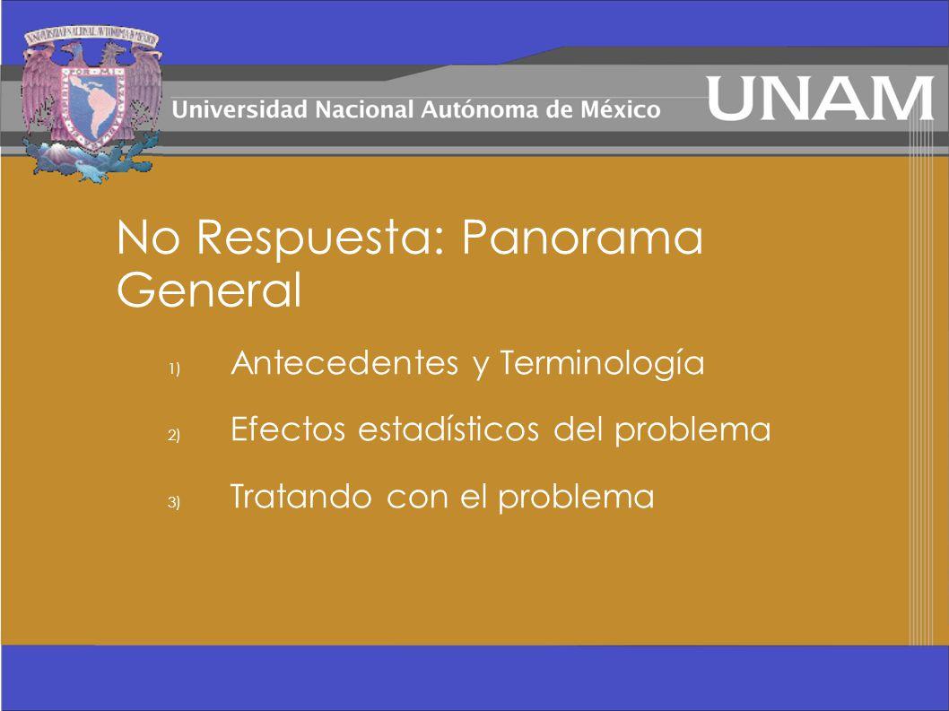 No Respuesta: Panorama General 1) Antecedentes y Terminología 2) Efectos estadísticos del problema 3) Tratando con el problema