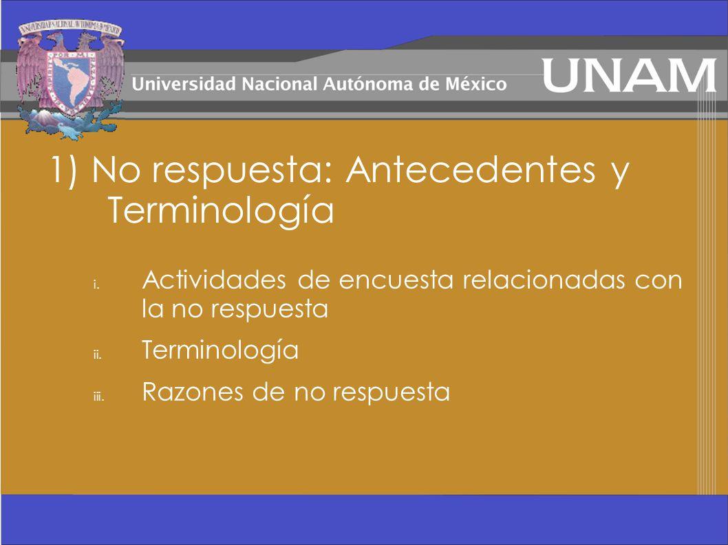 1) No respuesta: Antecedentes y Terminología i. Actividades de encuesta relacionadas con la no respuesta ii. Terminología iii. Razones de no respuesta