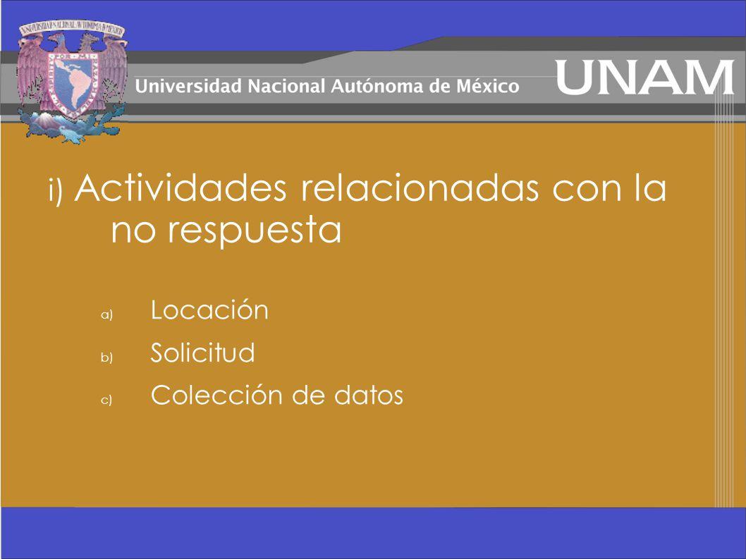 i) Actividades relacionadas con la no respuesta a) Locación b) Solicitud c) Colección de datos