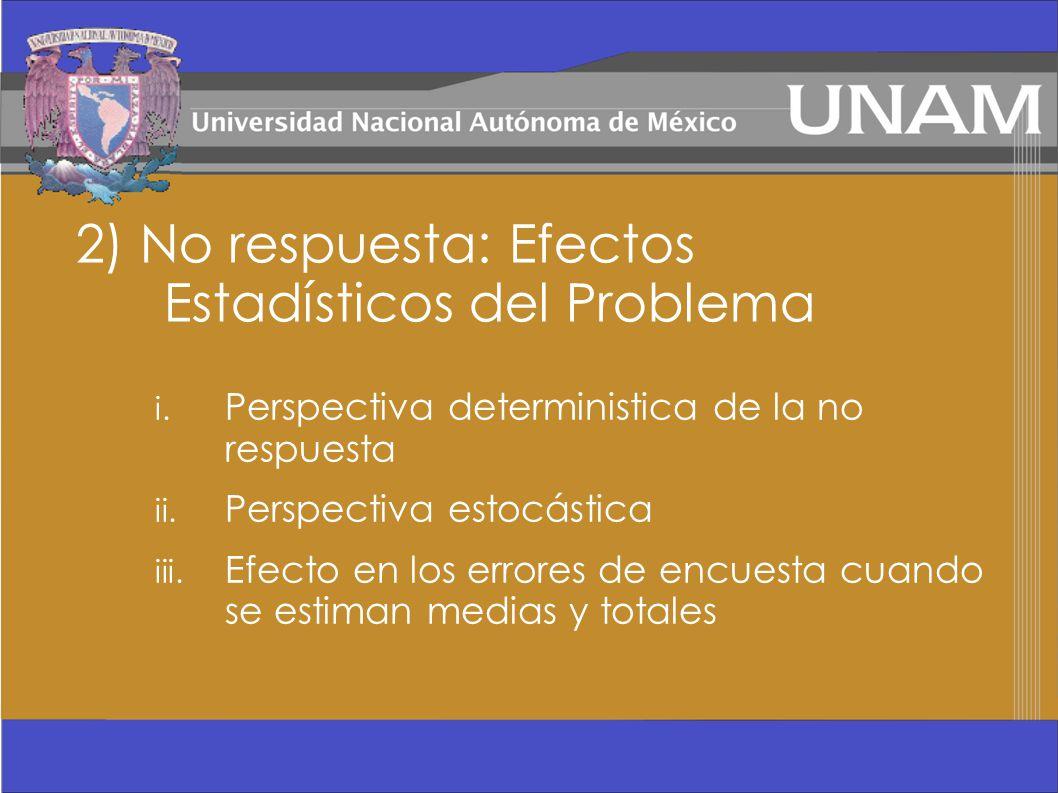 2) No respuesta: Efectos Estadísticos del Problema i. Perspectiva deterministica de la no respuesta ii. Perspectiva estocástica iii. Efecto en los err