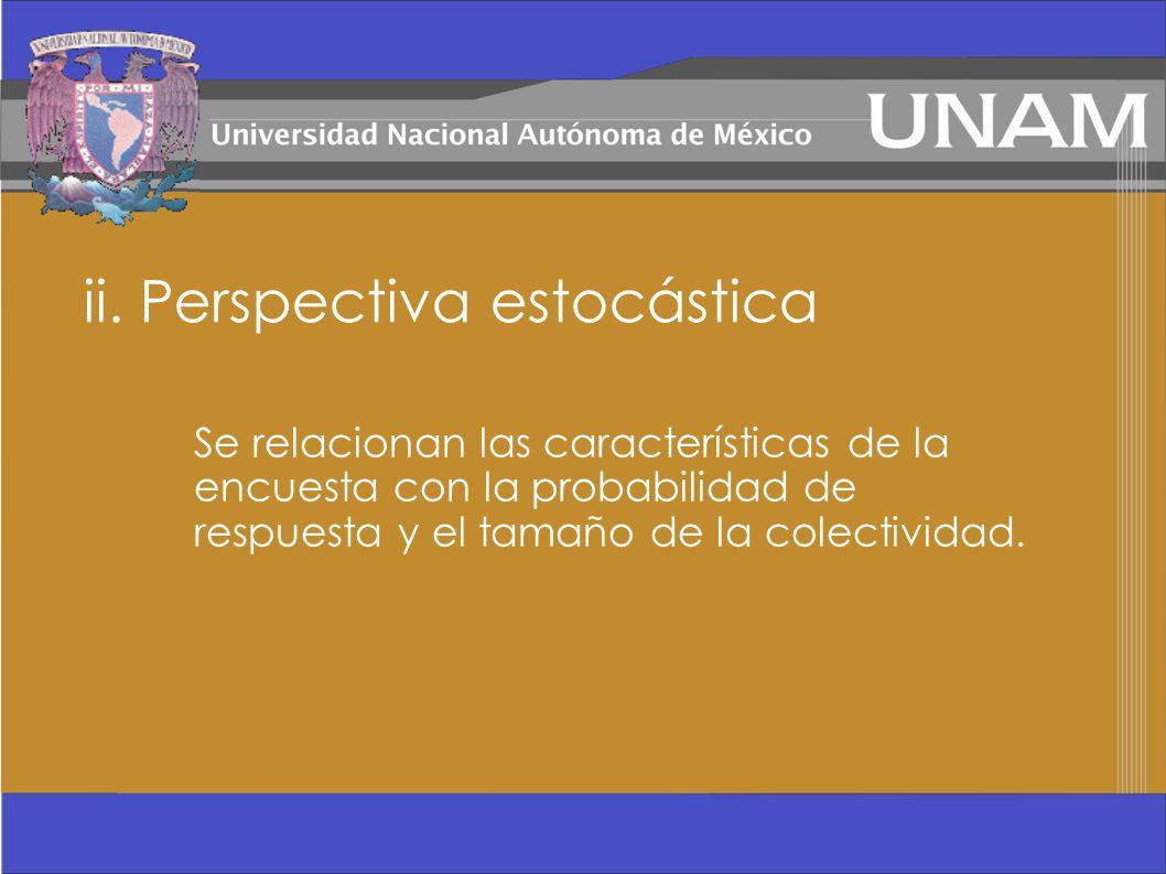 ii. Perspectiva estocástica Se relacionan las características de la encuesta con la probabilidad de respuesta y el tamaño de la colectividad.