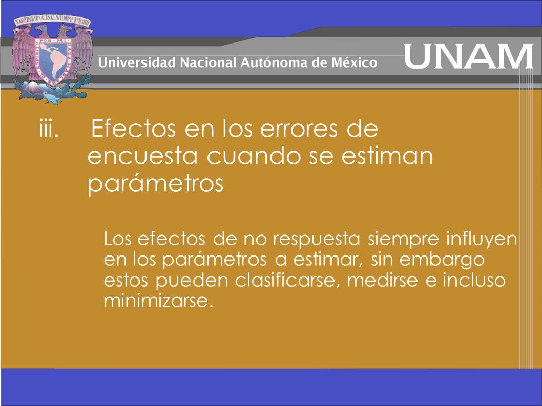 iii. Efectos en los errores de encuesta cuando se estiman parámetros Los efectos de no respuesta siempre influyen en los parámetros a estimar, sin emb