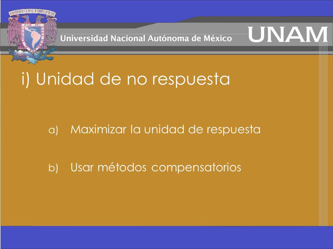 i) Unidad de no respuesta a) Maximizar la unidad de respuesta b) Usar métodos compensatorios