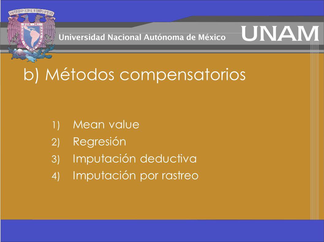 b) Métodos compensatorios 1) Mean value 2) Regresión 3) Imputación deductiva 4) Imputación por rastreo