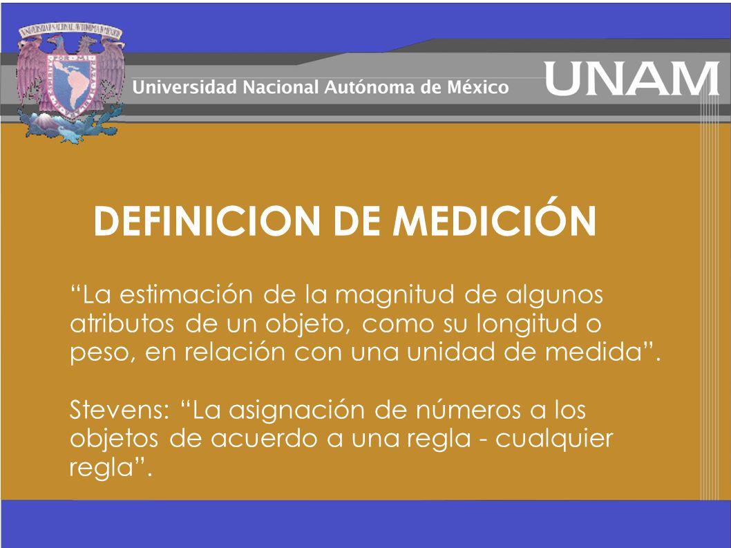 DEFINICION DE MEDICIÓN La estimación de la magnitud de algunos atributos de un objeto, como su longitud o peso, en relación con una unidad de medida.