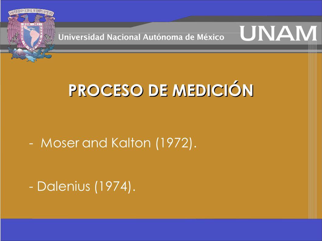 - Moser and Kalton (1972). - Dalenius (1974). PROCESO DE MEDICIÓN