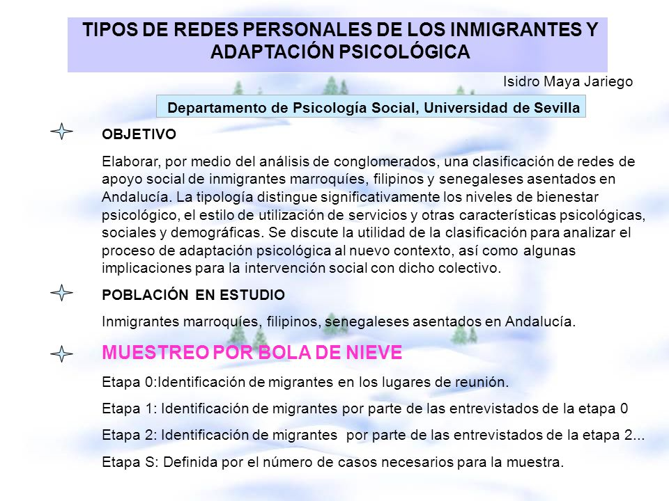 TIPOS DE REDES PERSONALES DE LOS INMIGRANTES Y ADAPTACIÓN PSICOLÓGICA Isidro Maya Jariego Departamento de Psicología Social, Universidad de Sevilla OB