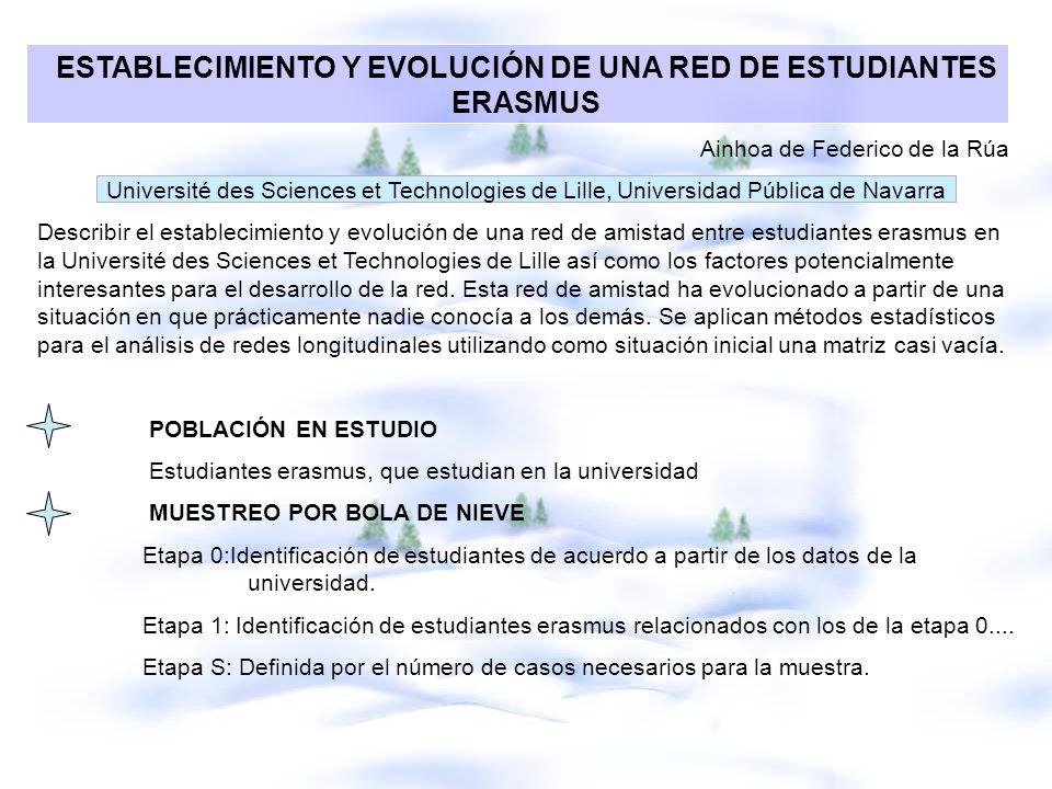 ESTABLECIMIENTO Y EVOLUCIÓN DE UNA RED DE ESTUDIANTES ERASMUS Ainhoa de Federico de la Rúa Université des Sciences et Technologies de Lille, Universid