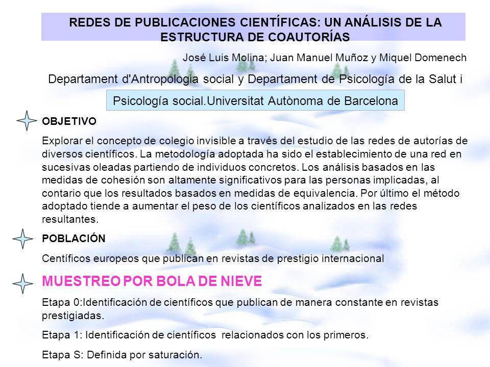 REDES DE PUBLICACIONES CIENTÍFICAS: UN ANÁLISIS DE LA ESTRUCTURA DE COAUTORÍAS José Luis Molina; Juan Manuel Muñoz y Miquel Domenech Departament d'Ant