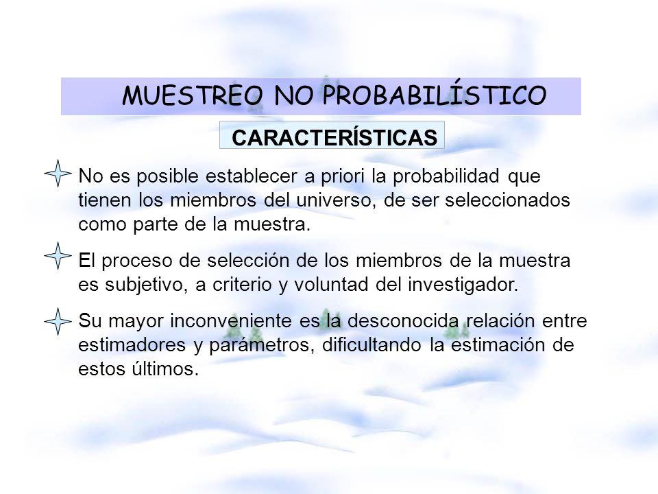 Cuándo aplicar muestreo NO probabilístico Cuando se pretende estudiar una POBLACIÓN RARA o MARGINAL.