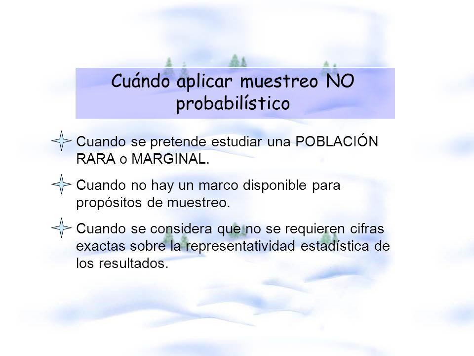 Cuándo aplicar muestreo NO probabilístico Cuando se pretende estudiar una POBLACIÓN RARA o MARGINAL. Cuando no hay un marco disponible para propósitos