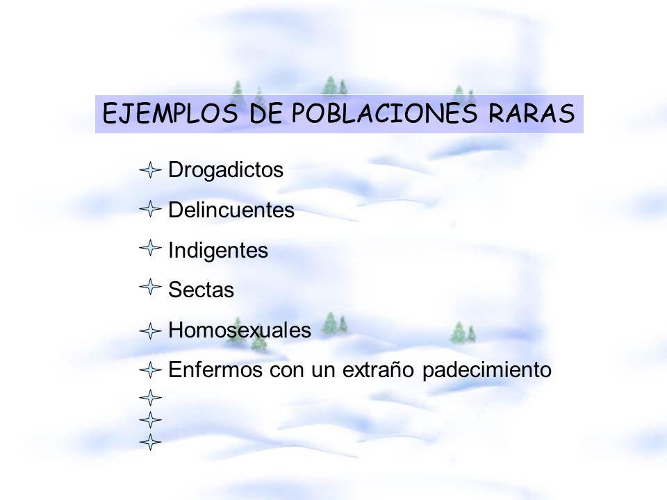 EJEMPLOS DE POBLACIONES RARAS Drogadictos Delincuentes Indigentes Sectas Homosexuales Enfermos con un extraño padecimiento