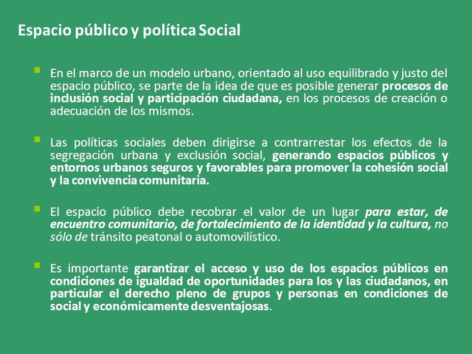 Espacio público y política Social En el marco de un modelo urbano, orientado al uso equilibrado y justo del espacio público, se parte de la idea de que es posible generar procesos de inclusión social y participación ciudadana, en los procesos de creación o adecuación de los mismos.