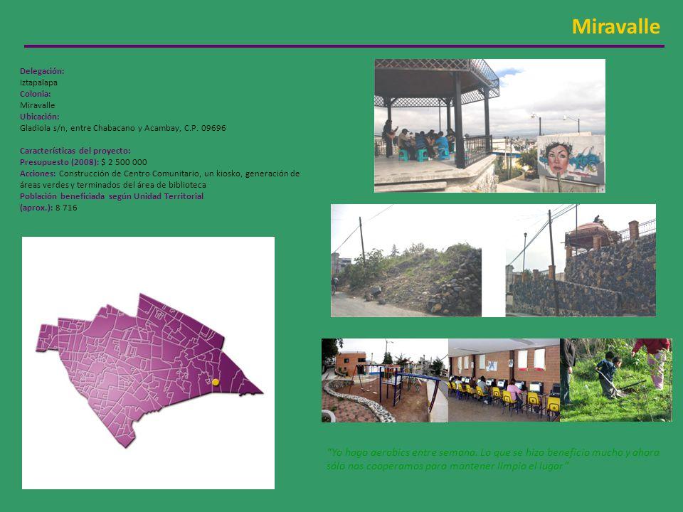 Miravalle Delegación: Iztapalapa Colonia: Miravalle Ubicación: Gladiola s/n, entre Chabacano y Acambay, C.P. 09696 Características del proyecto: Presu