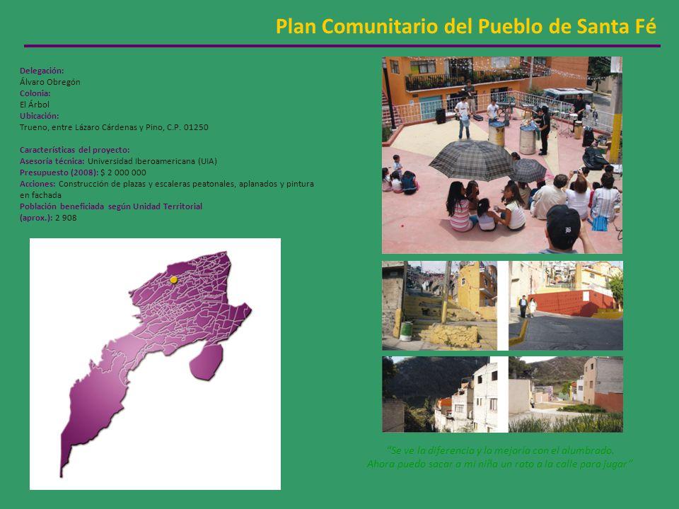 Plan Comunitario del Pueblo de Santa Fé Delegación: Álvaro Obregón Colonia: El Árbol Ubicación: Trueno, entre Lázaro Cárdenas y Pino, C.P.